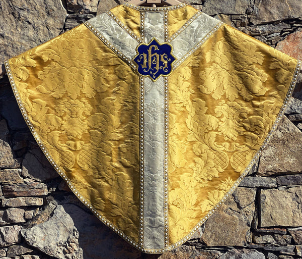 Gold Silk Semi-Gothic with Embroidered IHS - Sacra Domus Aurea