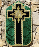 Green Silk and Black Velvet Chasuble with Embroidered IHS - Sacra Domus Aurea