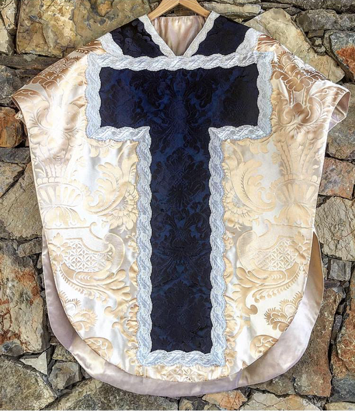 Marian White and Blue Silk Neri Style Chasuble - Sacra Domus Aurea