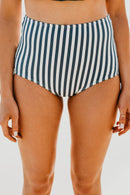HIGH WAIST SWIM BOTTOM IN SEASIDE STRIPE