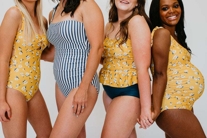 PEPLUM TANKINI SWIM TOP IN MUSTARD DAISY