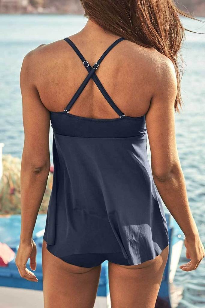 RETRO RUCHED-OVERLAY ONE-PIECE SWIMSUIT