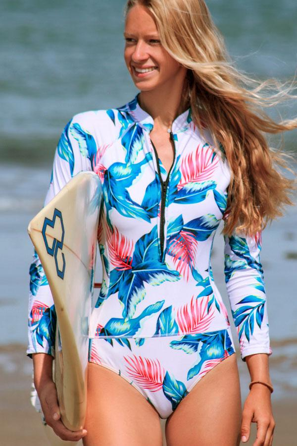 LONG SLEEVE PRINT SURFING SWIMSUIT