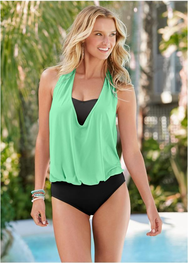 COWL NECK TWOFER ONE-PIECE SWIMSUIT