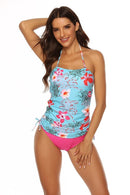 HALTER BLOOM PRINTED TIE DETAIL SEASIDE TANKINI SET