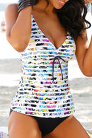 STRIPE PRINT V NECK TANKINI SET
