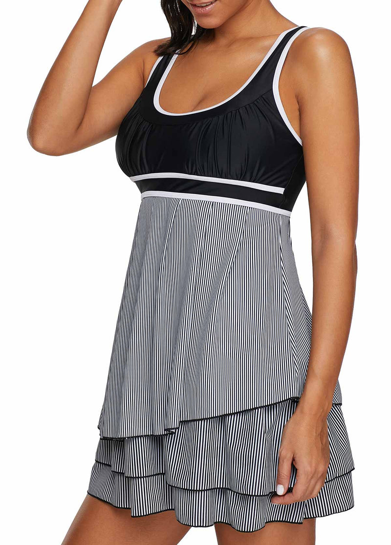 SCOOP BACK LAYERED CONTRAST PIPING SWIMDRESS AND SHORTS