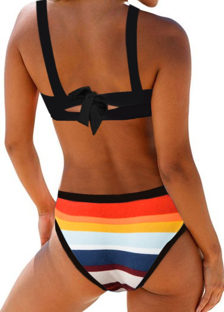 MULTICOLOR STRIPED TIE BACK SPAGHETTI STRAP BIKINI SET