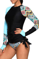 SIDE TIE PRINTED SURFING TANKINI SET