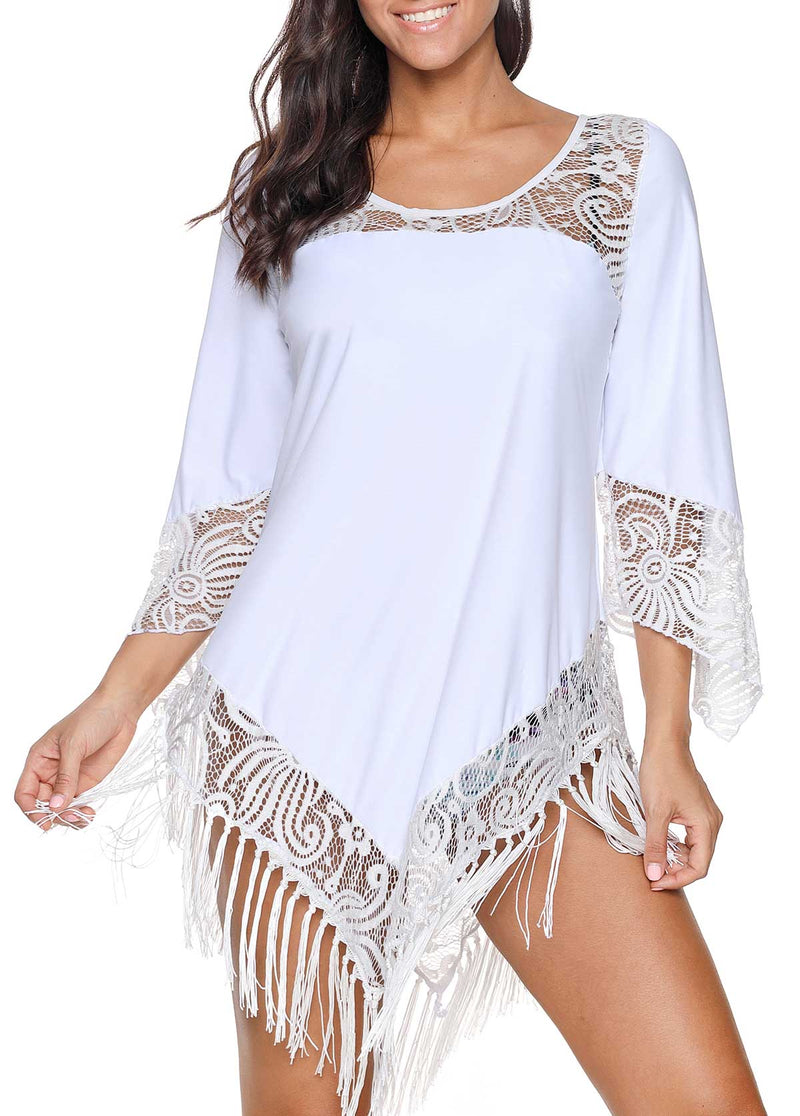 LACE PANEL WHITE TASSEL HEM COVER UP