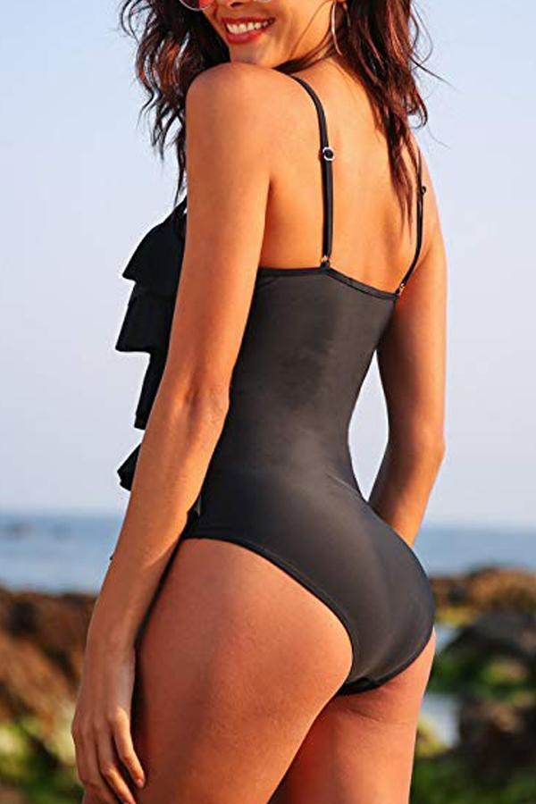 SOLID ADJUSTABLE STRAP RUFFLED ONE PIECE SWIMWEAR