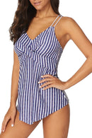 Retro Stripe Print Tankini Set