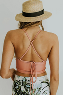 PINK CRISS CROSS CROP HIGH WAIST BIKINI SET