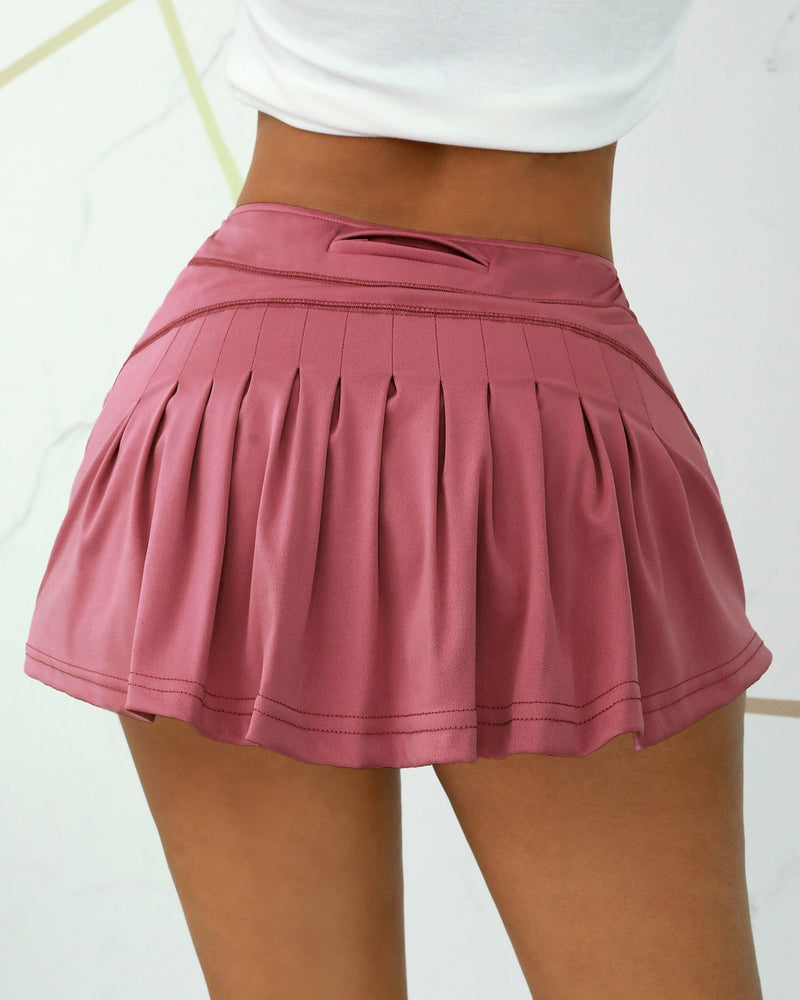 Double Layered Pockets Ruffles Yoga Skirt