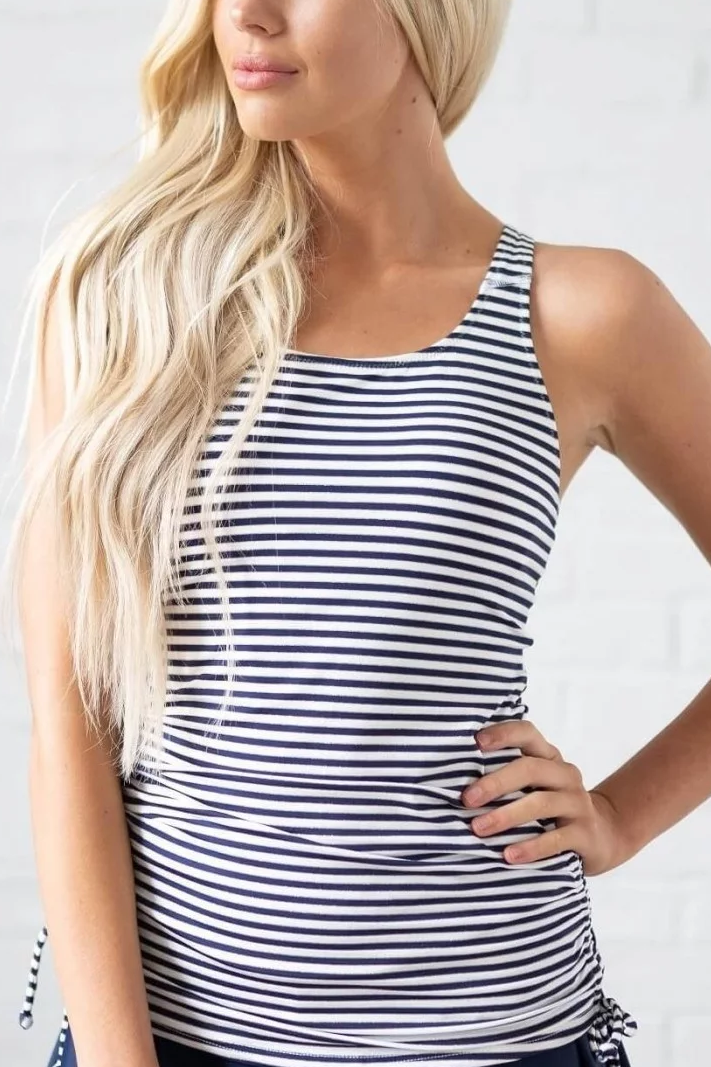 THE GREY STRIPE SWIM TANKINI SET