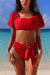 SOLID COLOR BOW SHORT SLEEVE BIKINI SUIT
