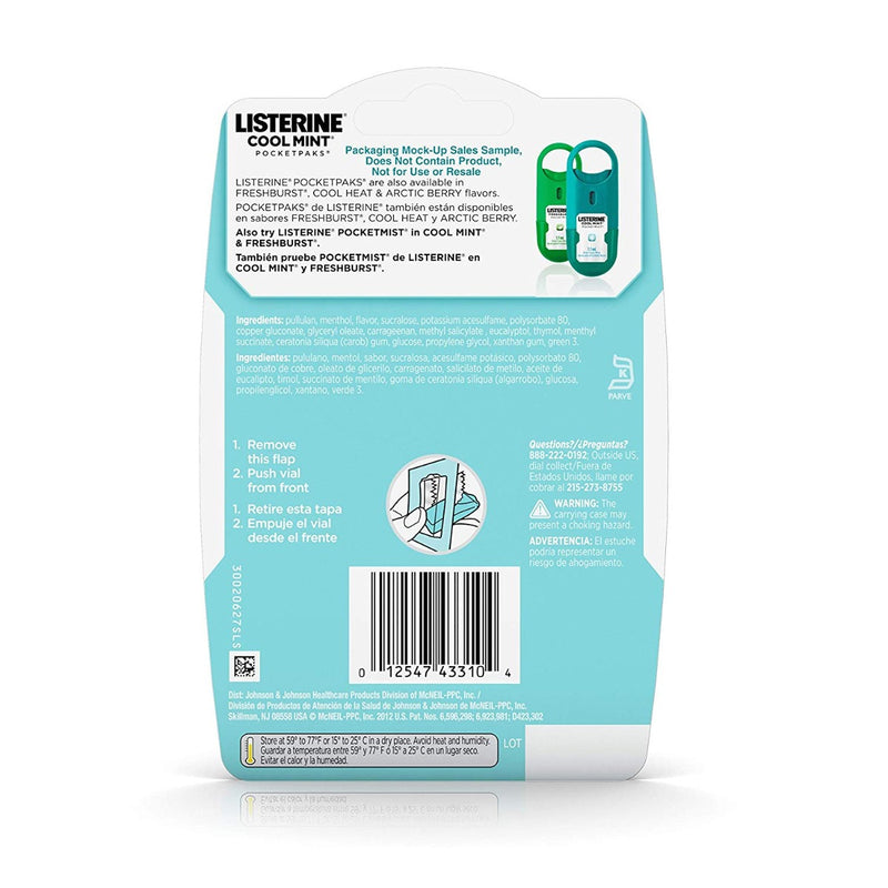 Listerine Pocket Paks Breath Strips Cool Mint 24 Strips