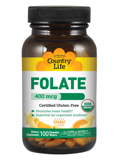 Country Life Folate 400 mcg Orange Flavor 100 Wafers