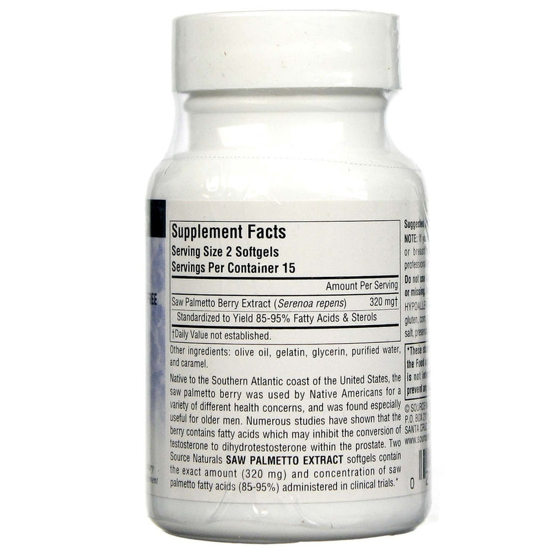 Source Naturals Saw Palmetto Extract 160 mg 30 Softgels