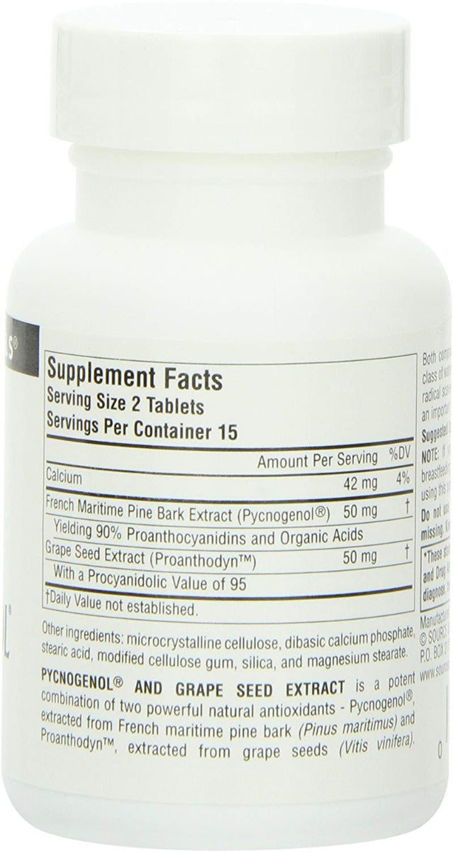 Source Naturals Pycnogenol and Grape Seed Extract 50 mg 30 Tablets