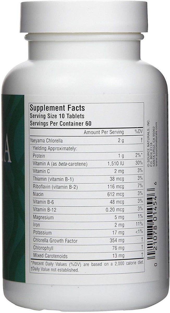 Source Naturals Yaeyama Chlorella 200 mg 600 Tablets