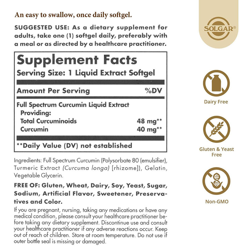 Solgar Full Spectrum Curcumin 90 Softgels