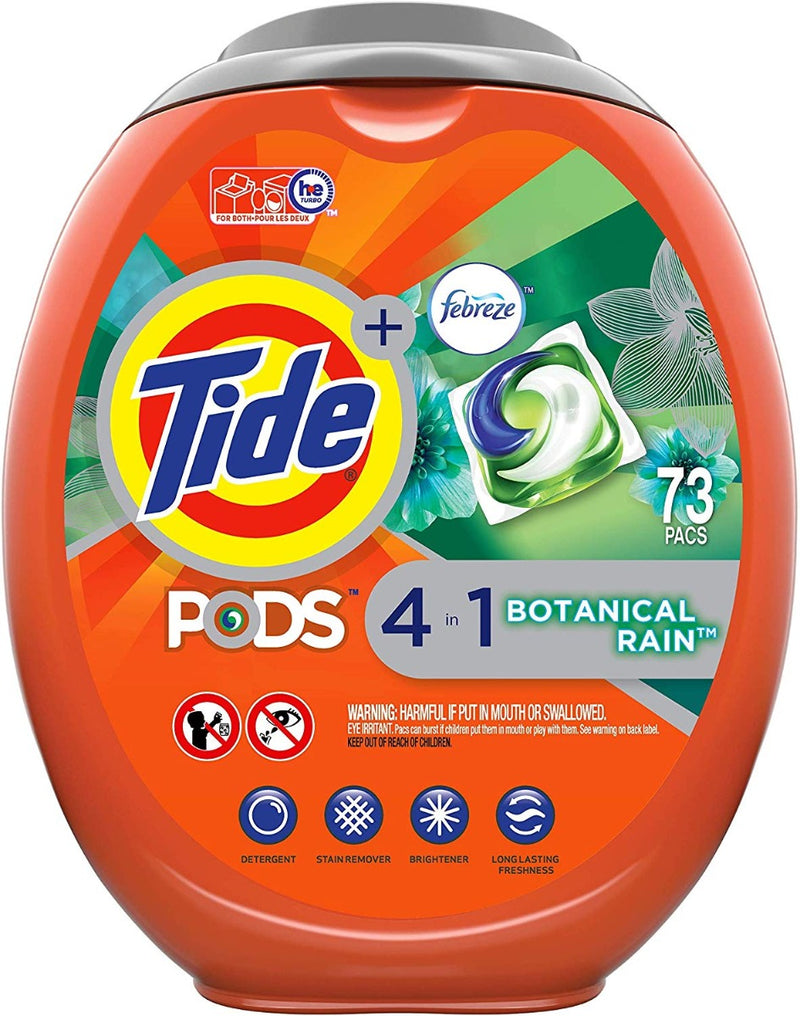 Tide Pods 4 in 1 Febreze Botanical Rain 73 Pacs