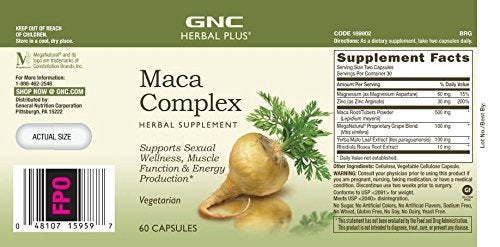 GNC Herbal Plus Maca Complex 60 Capsules