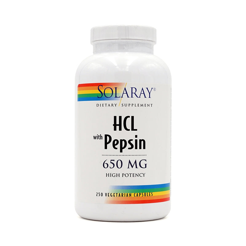 SOLARAY HCL with Pepsin 650 mg 250 Veg Capsules