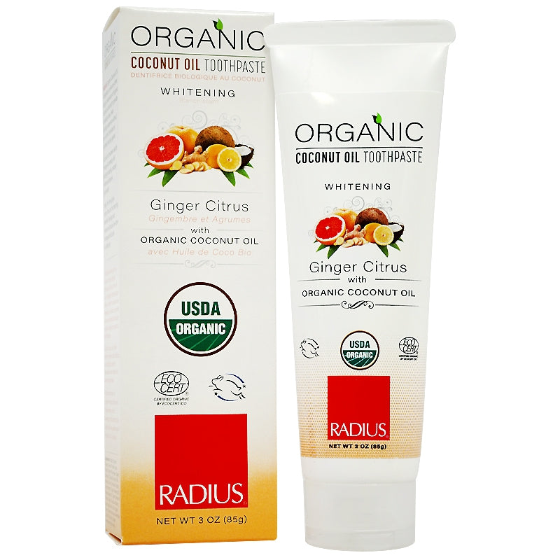 RADIUS USDA Organic Coconut Oil Toothpaste Ginger Citrus 3 oz