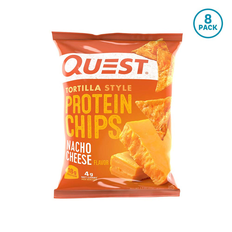 Quest Nutrition Tortilla Style Protein Chips Nacho Cheese  (8 Pack)