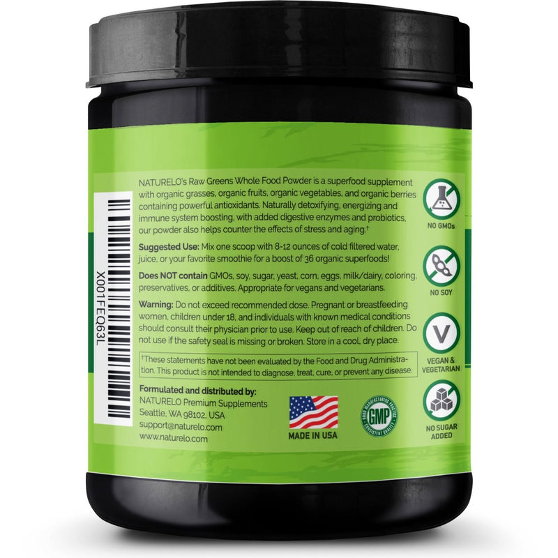 Naturelo Raw Greens Whole Food Powder Wild Berry Flavor 30 Servings 8.5 oz