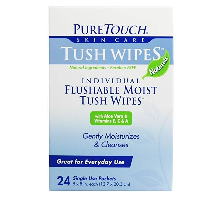Pure Touch Skin Care Tush Wipes 24 Packets