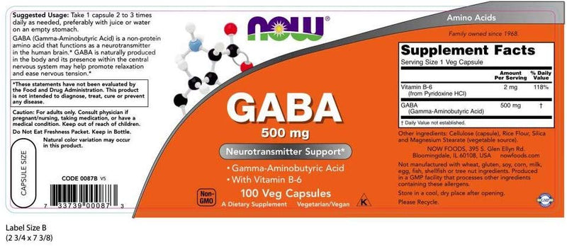 Now Foods GABA 500 mg 100 Veg Capsules