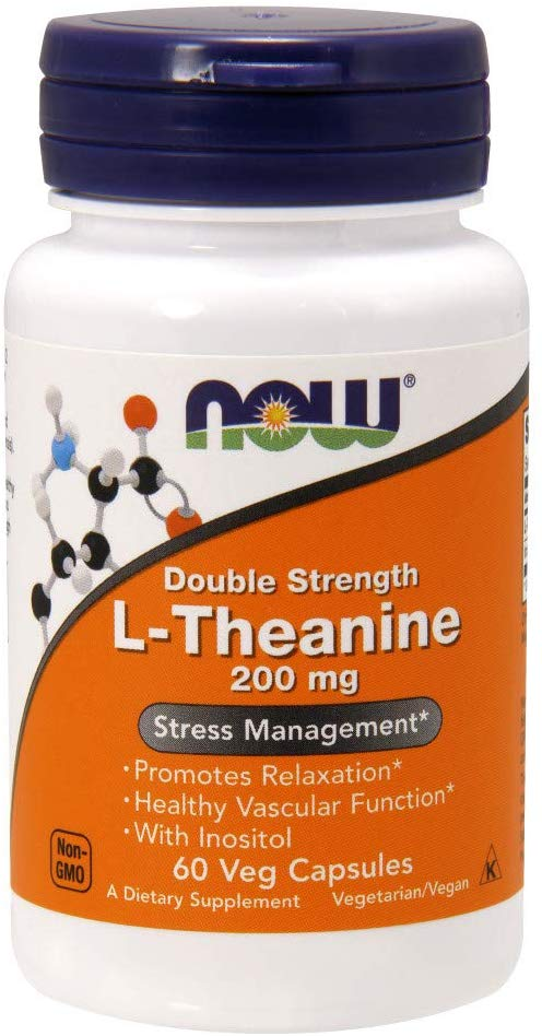 Now Foods L-Theanine 200 mg 60 Veg Capsules