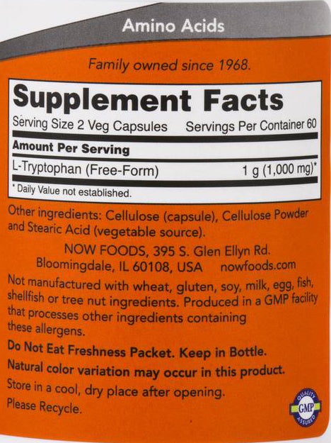 Now Foods L-Tryptophan 500 mg 120 Veg Capsules