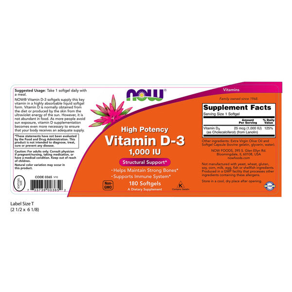 Now Foods High Potency Vitamin D-3 1,000 IU 180 Softgels