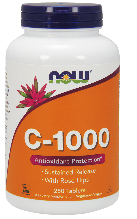 Now Foods C-1,000 Sustained Release With Rose Hips 250 Tablets