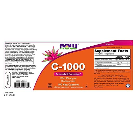 Now Foods C-1,000 with 100 mg of Bioflavonoids 1,000 mg 100 Veg Capsules