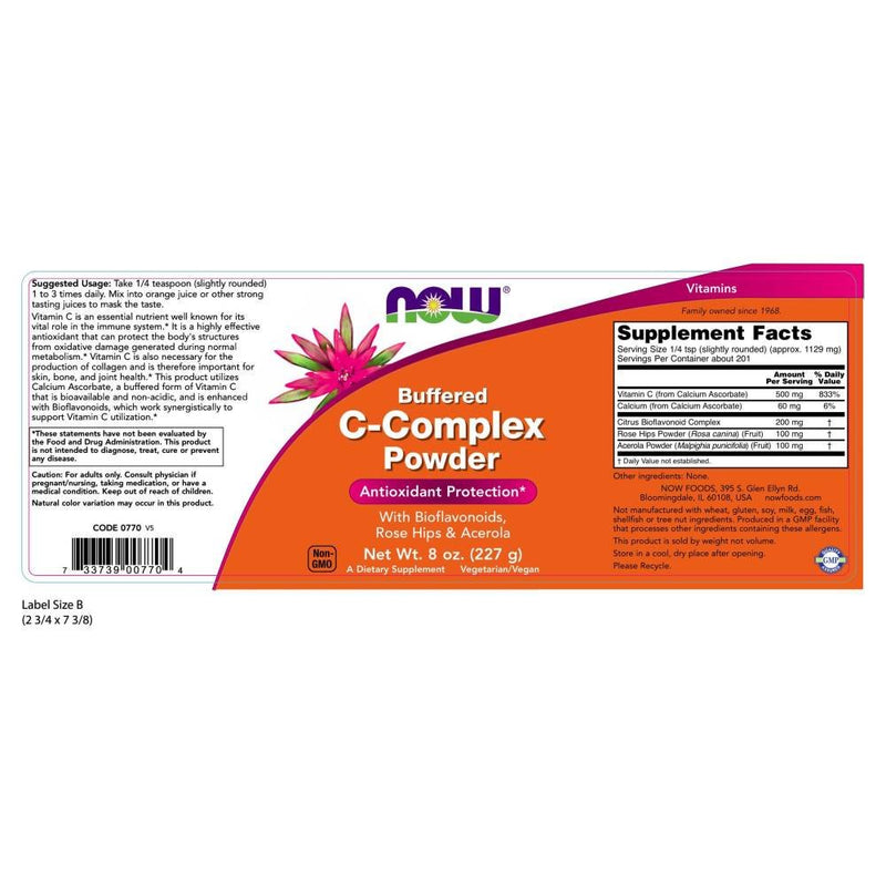 Now Foods Buffered C-Complex Powder 8 oz