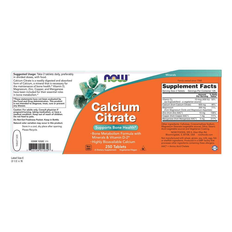Now Foods Calcium Citrate 250 Tablets