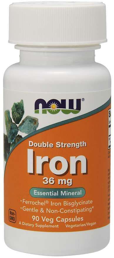 Now Foods Iron Double Strength 36 mg 90 Veg Capsules