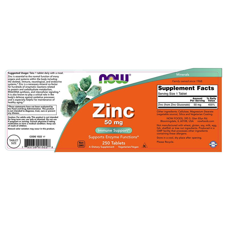 Now Foods Zinc 50 mg 250 Tablets