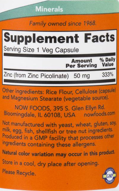 Now Foods Zinc Picolinate 50 mg 120 Veg Capsules