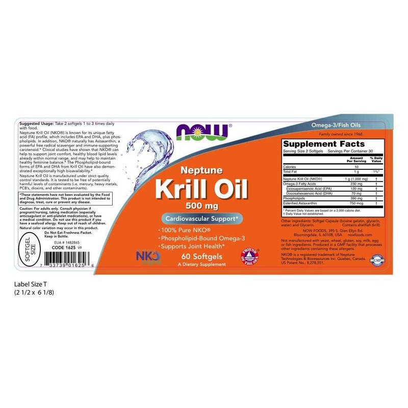 Now Foods Krill Oil 500 mg 60 Softgels