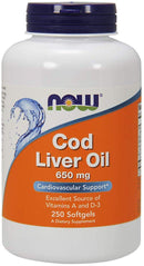 Now Foods Cod Liver Oil Double Strength 650 mg 250 Softgels