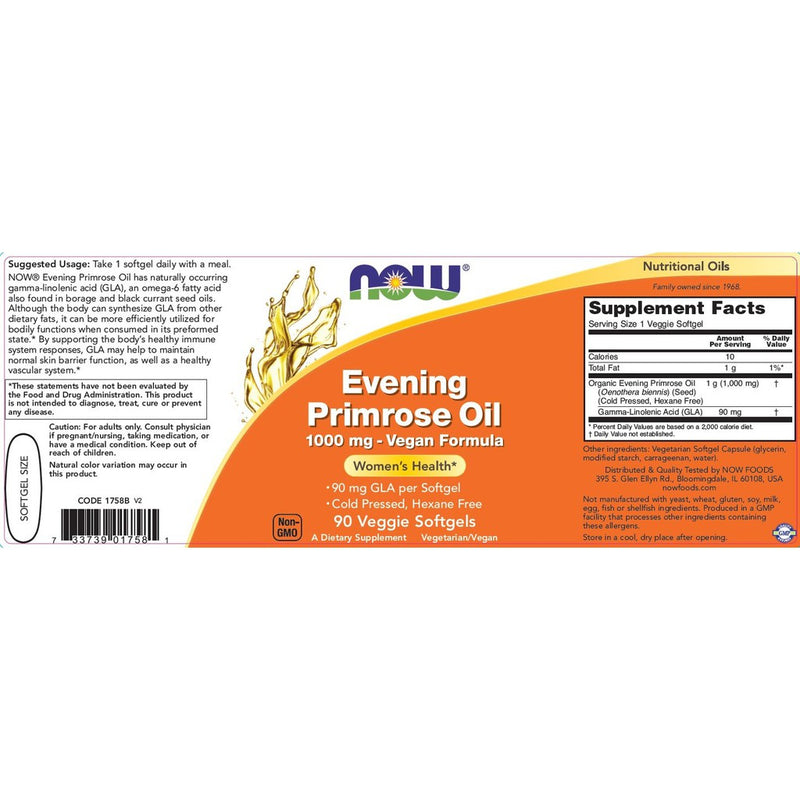 Now Foods Evening Primrose Oil 1,000 mg 90 Veg Softgels