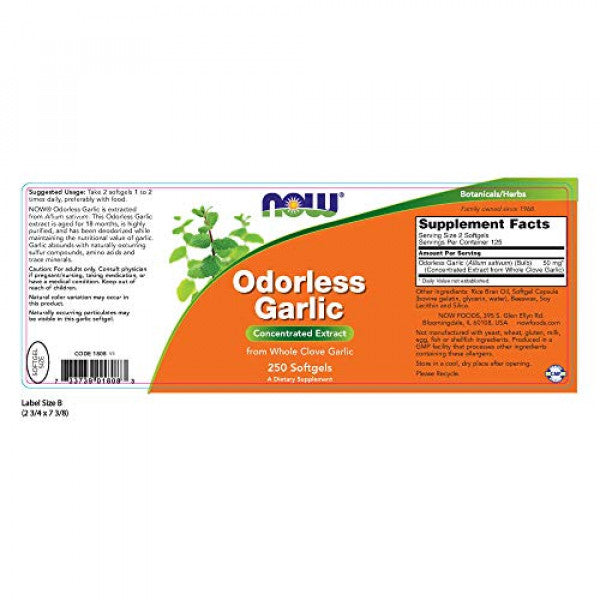 Now Foods Odorless Garlic 250 Softgels