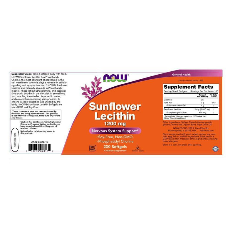 Now Foods Sunflower Lecithin 1200 mg 200 Softgels