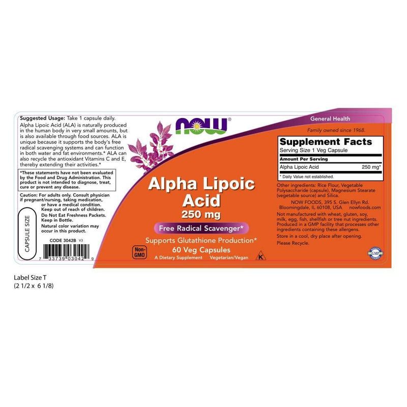 Now Foods Alpha Lipoic Acid 250 mg 60 Veg Capsules